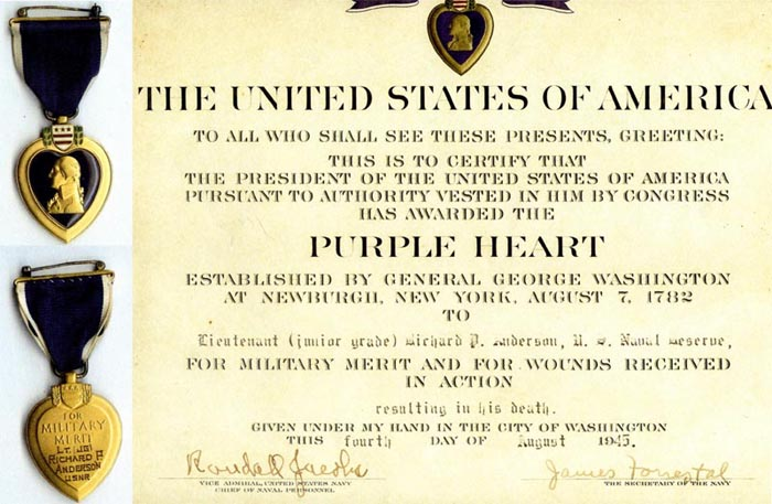 Purple Heart awarded Lt. (jg) Richard Anderson